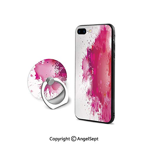 iPhone 7/8 Case with 360°Degree Swivel Ring,Artistic Display with Pink Watercolor Splashes Paint Splatters Fluid Brush Decorative,Durable Soft Touching,Pink Hot Pink Red