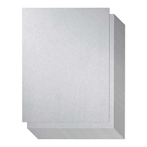 Shimmer Paper - 96 Pack-Silver Metallic Paper, Double Sided, Laser Printer Friendly - Perfect for Weddings, Baby Showers, Birthdays, Craft, Letter Size Sheets, 110 gsm, 8.7 x 0.03 x 11 (Silver Colored Foil)