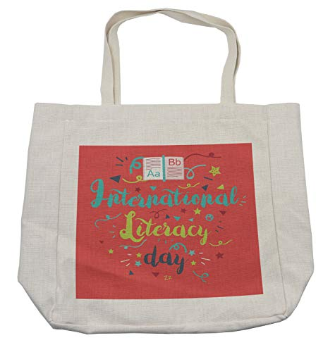 Lunarable ABC Classroom Shopping Bag, International Literacy Day Calligraphy Celebration Doodle Stars, Eco-Friendly Reusable Bag for Groceries Beach Travel School & More, Cream