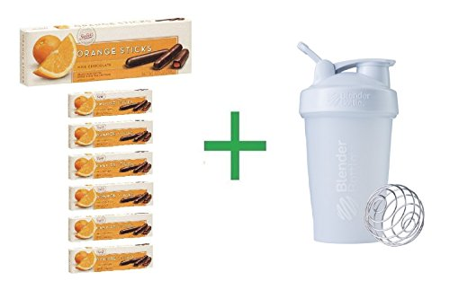 Sweet's Milk Chocolate Orange Sticks 10.5 OZ (Pack of 7) + Shaker Bottle by Sweets