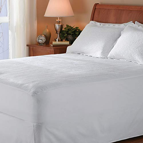Sunbeam Heated Mattress Pad  Polyester 10 Heat Settings  White  Queen  MSU1GQSN00011A00