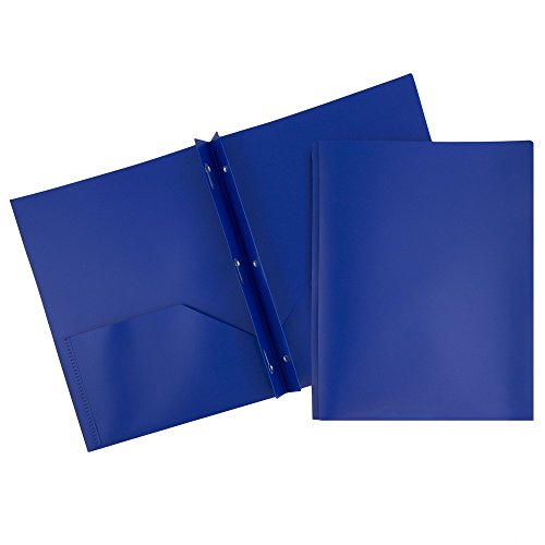 Sapphire Clasp - JAM PAPER Plastic 2 Pocket School POP Folders with Metal Prongs Fastener Clasps - Dark Blue - 6/pack