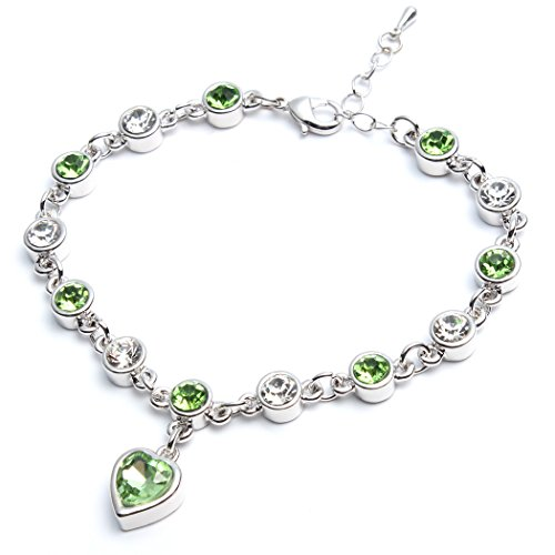 Heart Peridot Bracelet Women Girl Charm - Sterling Silver Plated Green Crystal - Charm Silver Sterling Peridot