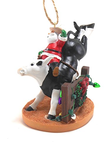Western Santa Ornament (Santa Riding Bull Orn by Cape Shore)