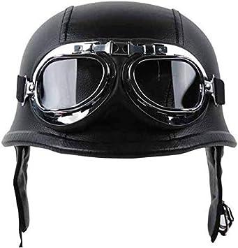 Casco de Moto Para Hombre - Casco de Cuero Delaman Motocicleta Scooter Cascos de Mitad de Coche de Época Cara Abierta con Gafas Piloto Negro (tamaño : XL)