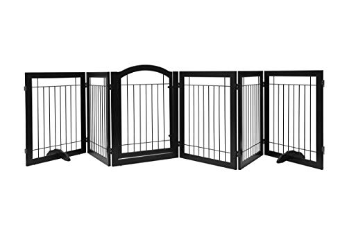 PAWLAND 144-inch Extra Wide 30-inches Tall Dog gate with Door Walk Through, Freestanding Wire Pet Gate for The House, Doorway, Stairs, Pet Puppy Safety Fence, Support Feet Included, Espresso,6 Panels by PAWLAND (Image #1)
