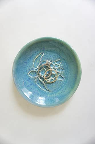Amazon.com: Blue Green Sea Turtle Trinket Dish Ring Holder