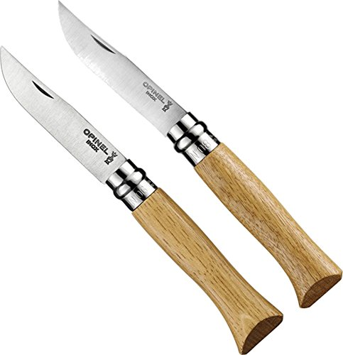 Opinel No. 8 Stainless Steel 8.5 cm, No.6 Stainless Steel 7cm Oak Wood Handle Knife Set