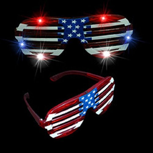 Mammoth Sales 12 Pairs of USA American Flag July 4 th LED Flashing Light Up Party Shades Glasses