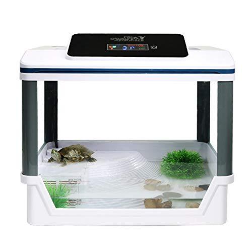 GUJIAO Acuario Ecológico Acuario De Tortuga con Solarium Smart Display Digital,Withdisplay