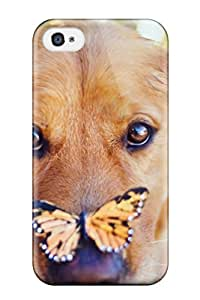 First-class Case Cover For Iphone 4/4s Dual Protection Cover Dog With Butterfly On Nose