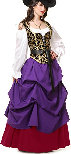 Women's Sexy Purple Country Western Lady Wench Dress Costume Large (Country Western Ladies Costumes)