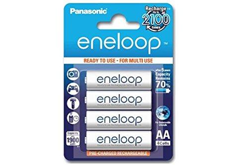 eneloop 4 x AA NiMH Panasonic (Sanyo) Rechargeable Batteries (2000 mAh) - Low Discharge ()
