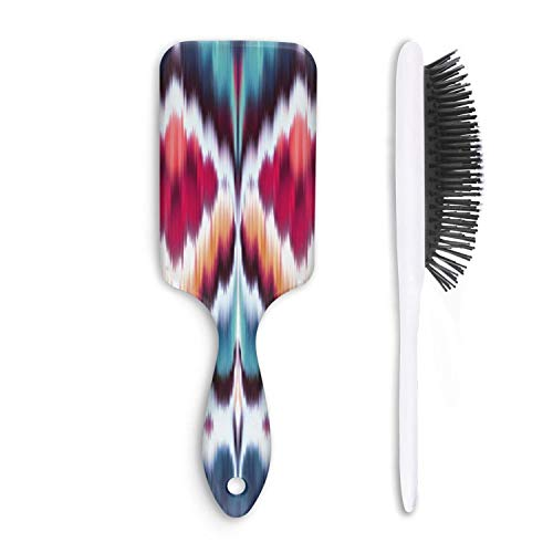 Unisex Detangle Hair Brush Boho Abstract Ethnic Red Blue Boar Bristle Paddle Hairbrush For Wet, Dry, Thick, Thin,Curly Hair