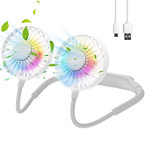 Lazy Neckband Fan – 4000mAh USB Rechargeable Portable Personal Fan with 3 Speed Strong Airflow, 7 LED Lights…