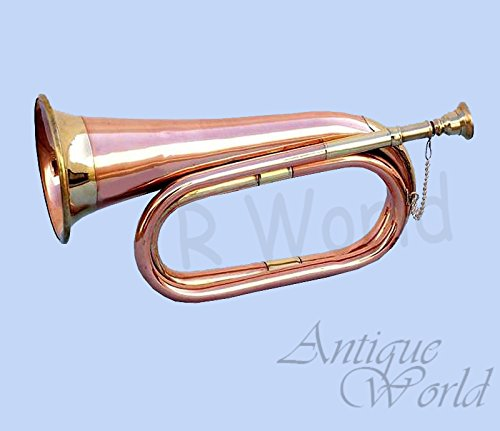 Antiques World Classic MIlitary Boy Scout Heavy Copper Bugle Signal Horn AWUSAMI 0123 by Antiques World