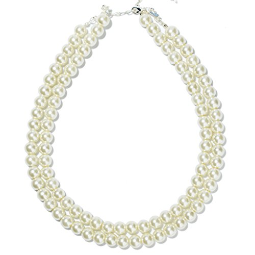 Prestep 2 Strands White Glass Pearl Necklace