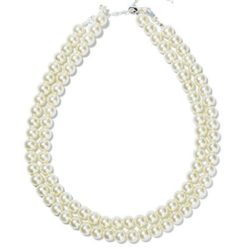 Prestep 2 Strands White Glass Pearl Necklace