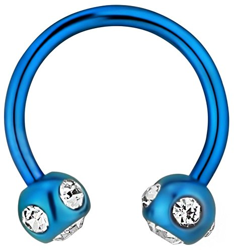 Forbidden Body Jewelry 16g 10mm Surgical Steel Blue IP Plated Crystalline Horseshoe Piercing Ring (4mm Balls) -