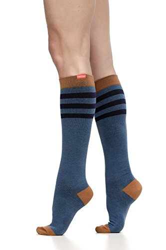VIM & VIGR Women's 15-20 mmHg Compression Socks: Rugby Stripe - Evening & Camel (Cotton) -