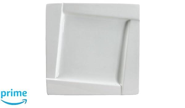 Dajar kubiko Platos de postre Plaza 20 cm Ambition, porcelana, blanco, 20 x 20 x 2 cm: Amazon.es: Hogar
