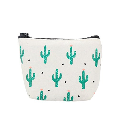 Polytree Cactus Printed Canvas Change Coin Purse Holder Zip Mini Wallet (one size, Lots of (Zip Coin Holder)
