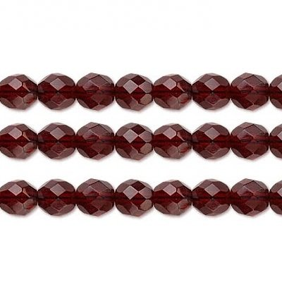 Czech Faceted Round Fire Polished Glass Beads. Preciosa Garnet 8mm 16 Inch Strand