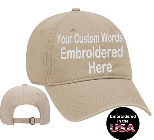 (Custom Text Embroidered Dad Hat. Unstructured Adjustable Metal Buckle (Khaki Dad Hat))