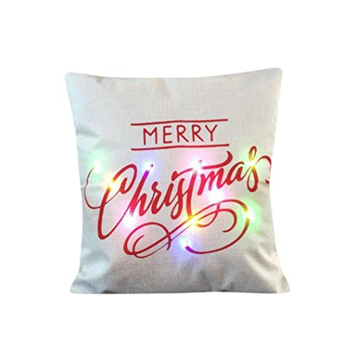 Pillow Case Cover, Hmlai Christmas LED Lights Pillow Creative Printing Cushion Cover Throw Pillowcase Sofa Home Decor,Use No.5 Battery not include, 45cmx45cm