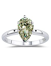 RINGJEWEL 1.33 ct VS1 Pear Moissanite Solitaire Engagement Silver Plated Ring Off White Color Size 7