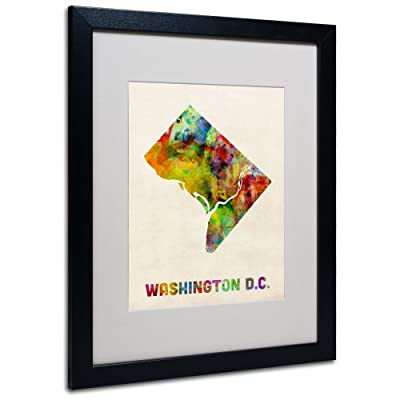 Trademark Fine Art Washington D.C. Map Matted Framed Art by Michael Tompsett in Black Frame