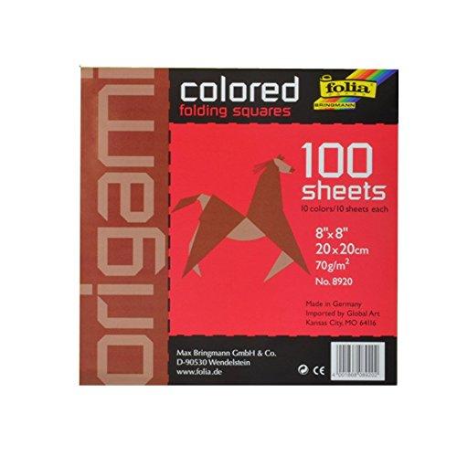 Folia 8920 - Faltblätter 20 x 20 cm, 70 g/qm, 100 Blatt sortiert in 10 Farben