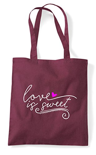 Tote Love Is Bag Shopper Sweet Burgundy Statement 6Aq0nwzAfT