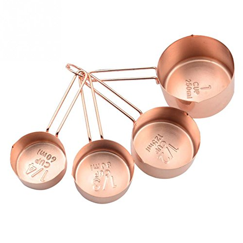 Cikuso Rose gold Stainless Steel Measuring Cups Set of 4 - Gorgeous & Heavy Duty, Mirror Polished Ingredients