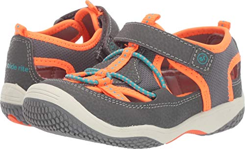 (Stride Rite Marina Boy's/Girl's Water Play Sandal, Grey/Orange 7.5 M US Toddler)