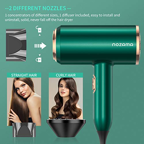 Ionic Hair Dryer, Nozama 2000W Professional Hair Blow Dryers with 3 Heat Settings, 2 Speed, 3 Cool Settings,2 Concentrator Nozzles, Fast Drying Blow Dryer for Home, Travel, Salon and Hotel