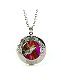 Women's Custom Locket Closure Pendant Necklace Nature Animal Included Free Silver Chain, Best Gift Set
