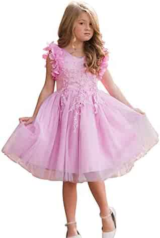 e1d47448c96 Just Couture Little Girls Pink Lavender Petal Sleeve Lace Flower Girl Dress  2-6