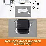 "gray hardwood floors Desk Chair Mat for Hardwood Floor – Two Piece MEGA Saver Pack of Premium Office Desk Accessories | Hard Floor Protector (36""x48"") with Matching Desk Pad (20""x26"") – Grey"