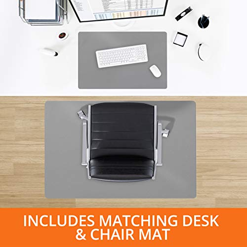 """Desk Chair Mat for Hardwood Floor – Two Piece MEGA Saver Pack of Premium Office Desk Accessories 