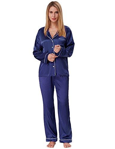 Brushed Back Satin Pajamas - Women Brushed Back Satin Pajamas Sets Plus Size Navy Blue Size XXL ZE52-4