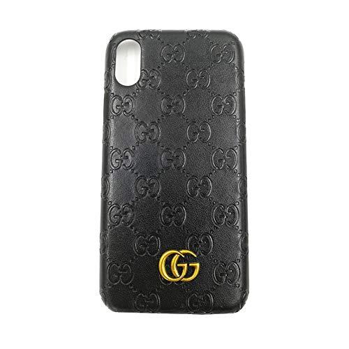 iPhone Xs Case, Black Premium PU Luxury Stylish Designer Fashion Leather Cover Case for iPhone X & - Embossed Black Snake