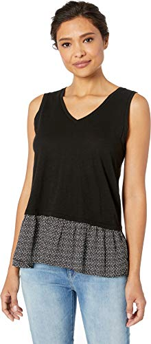 - Two by Vince Camuto Women's Sleeveless Mix Media Diamond Dash Underlay Top Rich Black Small