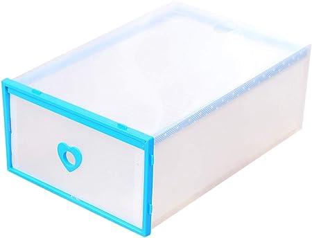ZiXingA Cajas para Zapatos de Plástico Transparente Apilables, Almacenaje Zapatos, Cajas de Almacenaje Plastico para Guardar Ropa, Cinturones, Calcetines, Juguetes (Juego de 6) Azul OneSize: Amazon.es: Hogar