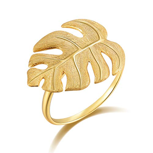 Lotus Fun S925 Sterling Silver Rings Monstera Leaves Open Ring Handmade Jewelry Unique Gifts for Women and Girls (Gold) ()
