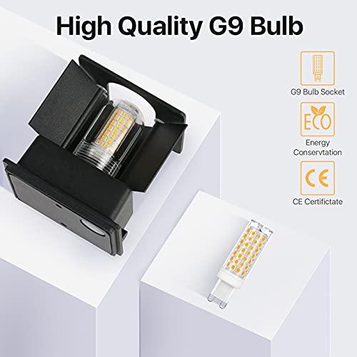 Imoli 2 Stücke Wandlampe mit Austauschbarer G9 LED Lampe Warmweiß 3000K Aluminium LED Wandleuchte Innen Aussen Einstellbarer Abstrahlwinkel Wandbeleuchtung für Schlafzimmer Badezimmer Gang(Schwarz)