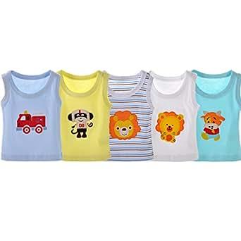 DANROL Baby Boys' 5 Pack Cartoon Sleeveless Tank Tops 100 % Cotton (6 Months)