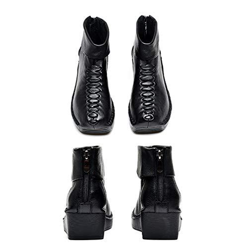 Con Botas Y Gruesos Yan Suave Cómodo E Otoño Fondo Botines Cuero De Negro Casuales Zapatos Estilo Étnico Invierno Mujer ttTPS6qw
