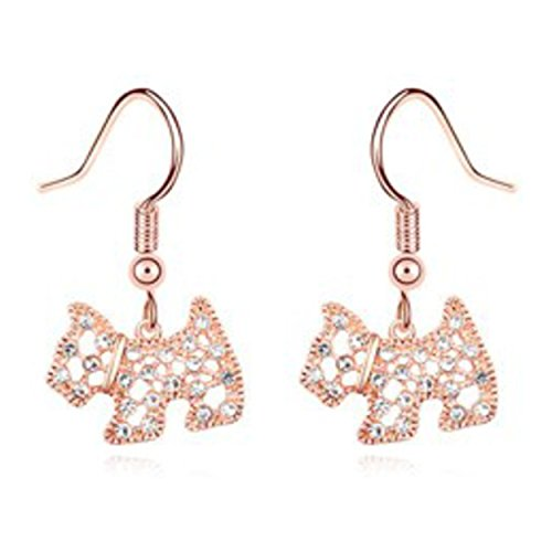 - Rose Gold Finish Rhinestone Scottish Terrier Scottie Scotty Dog Drop Dangle Earrings 1