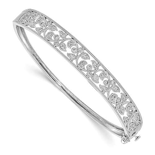 14k White Gold Journey Diamond Bracelet - 14k White Gold Diamond Bangle Bracelet Cuff Expandable Stackable Slip On Fine Jewelry Gifts For Women For Her